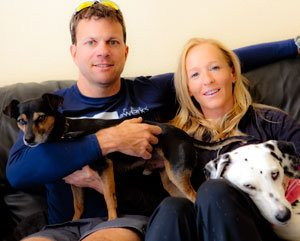 David Glover and Krista Schultz with dogs
