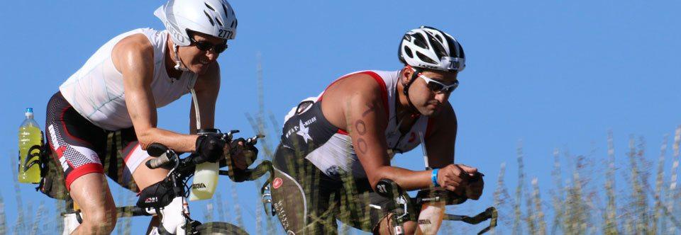 Triathletes on the bike at Ironman Boulder