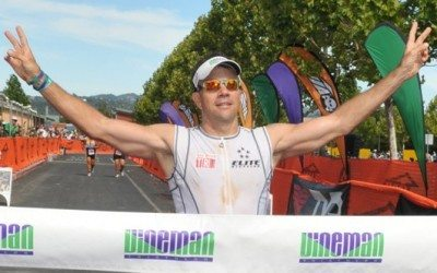 David Glover finishing Vineman Triathlon